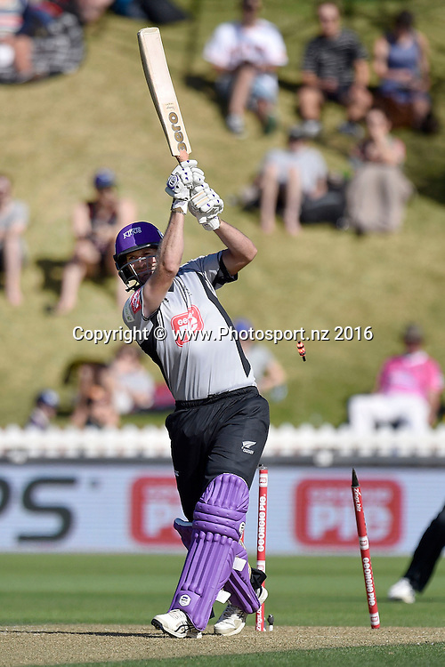 Andrew Ellis of the South Island is bowled  during the North Island vs South Island cricket match at the Basin Reserve in Wellington on Sunday the 28th of February 2016. Copyright Photo by Marty Melville / www.Photosport.nz