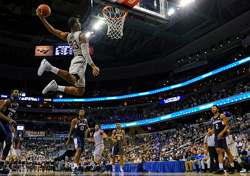 WASHINGTON, DC - JANUARY 14: Georgetown Hoyas guard Rodney Pryor (23) scores on a dunk in the second half against the Connecticut Huskies on January 14, 2017, at the Verizon Center in Washington, D.C.  The Georgetown Hoyas defeated the Connecticut Huskies, 72-69.  (Photo by Mark Goldman/Icon Sportswire)
