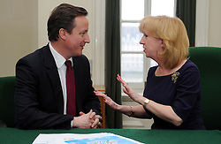 Leader of the Conservative Party David Cameron with Eleanor Laing, Member of Parliament for Epping Forest in his office in Norman Shaw South, January 7, 2010. Photo By Andrew Parsons / i-Images.