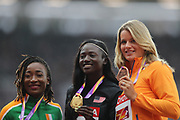, 100 m women  podium, Tori Bowie, Marie-josee Ta Lou, Daphne Schippers  during the IAAF World Championships 070817 at the London Stadium, London, England on 7 August 2017. Photo by Myriam Cawston.