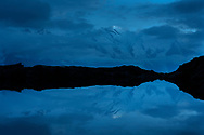 Reflexions in the Lacs des Cheserys at night with clouds and moonshine, Chamonix, France / Impressionen bei den Lacs des Cheserys oberhalb von Chamonix, Mont-Blanc, an einem Spätsommertag im September