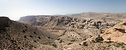 Middle East, Hashemite Kingdom of Jordan, Panoramic view of the Dana Nature Reserve gorge