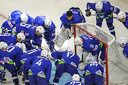 Gasper Kroselj of Slovenia with players during Ice Hockey match between National Teams of Hungary and Slovenia in Round #3 of 2018 IIHF Ice Hockey World Championship Division I Group A, on April 25, 2018 in Arena Laszla Pappa, Budapest, Hungary. Photo by David Balogh / Sportida