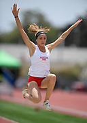 Sophia Chiaramonte of Mater Dei places 12th in the girls long jump at 17-0 1/2 during the 2019 CIF Southern Section Masters Meet in Torrance, Calif., Saturday, May 18, 2019.