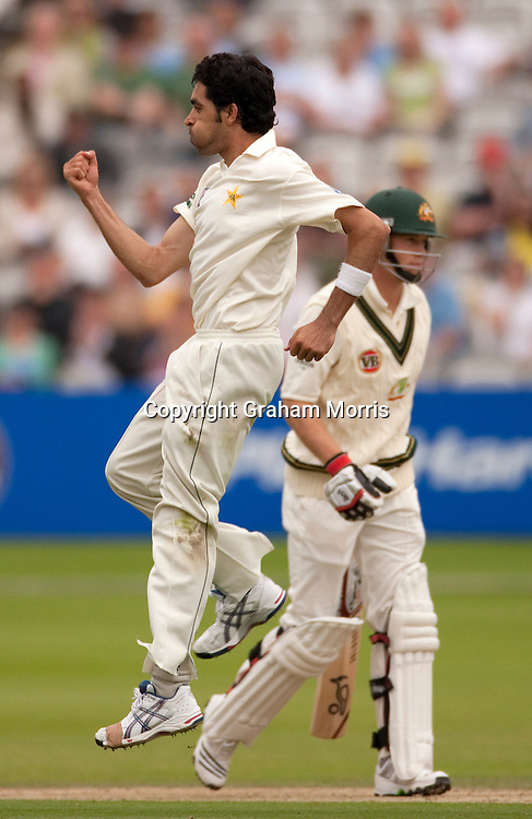 Umar Gul celebrates having Tim Paine (right) caught during the MCC Spirit of Cricket Test Match between Pakistan and Australia at Lord's.  Photo: Graham Morris (Tel: +44(0)20 8969 4192 Email: sales@cricketpix.com) 13/07/10