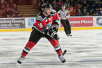 KELOWNA, CANADA - NOVEMBER 9:  Cody Fowlie #18 of the Kelowna Rockets looks for the pass as the Red Deer Rebels visit the Kelowna Rockets on November 9, 2012 at Prospera Place in Kelowna, British Columbia, Canada (Photo by Marissa Baecker/Shoot the Breeze) *** Local Caption ***