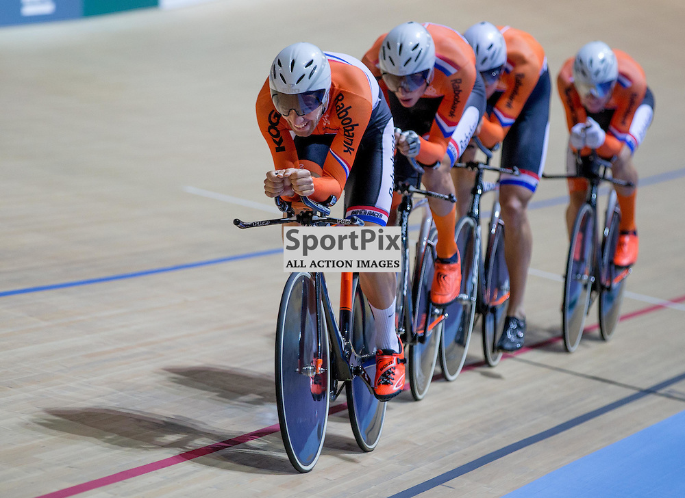 The Dutch Men's Pursuit Team at the Revoultion Series 2015/6 Round 1 Derby, Day 1, on 14 August 2015 ( (Photo by Mike Poole - Photopoole)