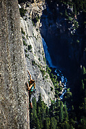 Kate Rutherford climbs Keeper of the Flame, one of Yosemite's finest and exposed sport routes.
