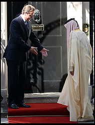 British Prime Minister David Cameron greets Sheikh Khalifa bin Zayed Al Nahyan, Downing Street, UK, May 01, 2013. Photo by: Andrew Parsons / i-Images