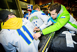Mitja Robar, ice hockey player at reception of Slovenia team arrived from Winter Olympic Games Sochi 2014 on February 19, 2014 at Airport Joze Pucnik, Brnik, Slovenia. Photo by Vid Ponikvar / Sportida