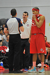 Bristol Flyers head coach, Andreas Kapoulas speaks with the referee - Photo mandatory by-line: Dougie Allward/JMP - Mobile: 07966 386802 - 10/01/2015 - SPORT - basketball - Bristol - SGS Wise Campus - Bristol Flyers v Leicester Riders - British Basketball League