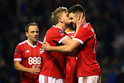 Ben Brereton of Nottingham Forest gets a kiss from Joe Worrall of Nottingham Forest after scoring a goal to make it 3-1 - Mandatory by-line: Robbie Stephenson/JMP - 07/01/2018 - FOOTBALL - The City Ground - Nottingham, England - Nottingham Forest v Arsenal - Emirates FA Cup third round proper