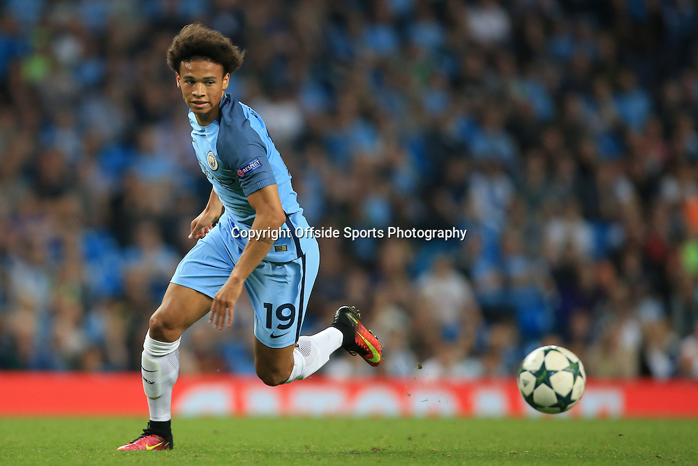14th September 2016 - UEFA Champions League - Group C - Manchester City v Borussia Monchengladbach - Leroy Sane of Man City - Photo: Simon Stacpoole / Offside.
