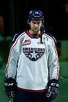 KELOWNA, BC - OCTOBER 2:   Nick Bowman #16 of the Tri-City Americans stands on the blue line for the national anthem at the Kelowna Rockets at Prospera Place on October 2, 2019 in Kelowna, Canada. (Photo by Marissa Baecker/Shoot the Breeze)