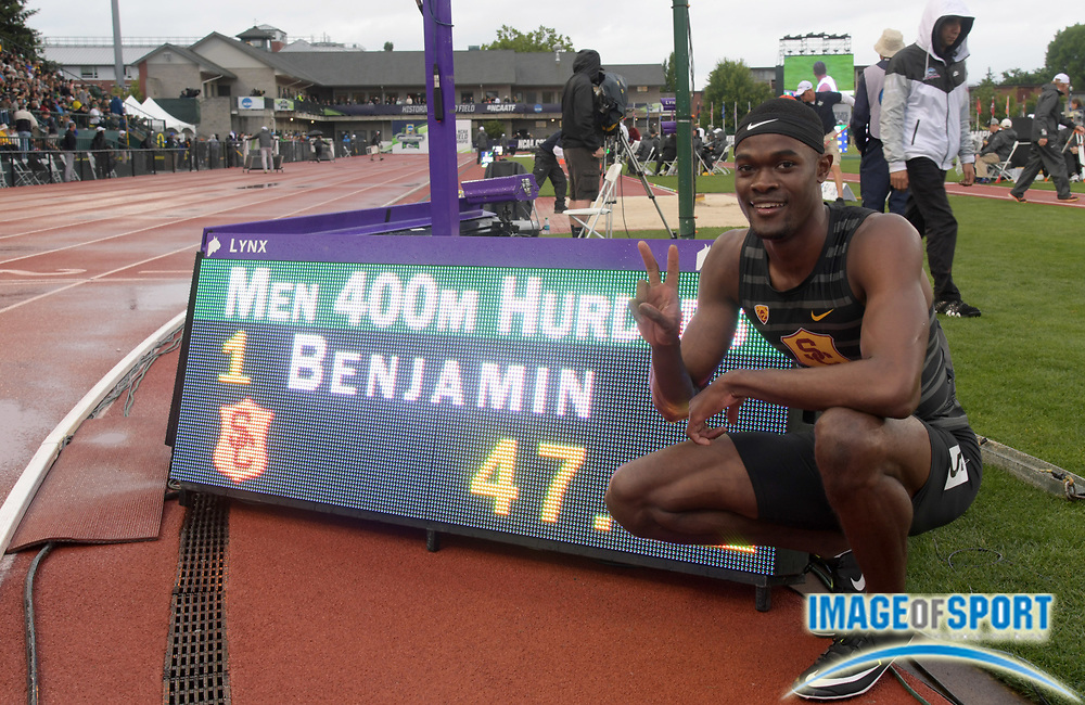 Jun 8, 2018; Eugene, OR, USA; Rai Benjamin of Southern California poses after winning the 400m hurdles in a collegiate record 47.02 during the NCAA Track and Field championships at Hayward Field.