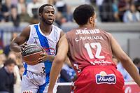 San Pablo Burgos John Jenkins and Gipuzkoa Basket Kenny Chery during Liga Endesa match between San Pablo Burgos and Gipuzkoa Basket at Coliseum Burgos in Burgos, Spain. December 30, 2017. (ALTERPHOTOS/Borja B.Hojas)