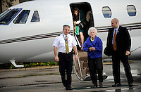 SAN ANTONIO, TX - FEBRUARY 08:  Former First Lady Barbara Bush disembarks a plane along with Senator Hutchison on their way to a campaign stop. Senior Senator and candidate for Texas governor, Kay Bailey Hutchison,  campaigns through Texas in a close race against Governor Rick Perry for the republican nomination, February 08, 2010 in San Antonio, Texas. (Photo by Melina Mara/The Washington Post)..