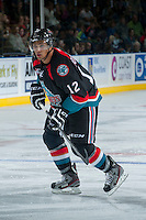 KELOWNA, CANADA - SEPTEMBER 28:  Tyrell Goulbourne #12 of the Kelowna Rockets skates on the ice against the Victoria Royals  at the Kelowna Rockets on September 28, 2013 at Prospera Place in Kelowna, British Columbia, Canada (Photo by Marissa Baecker/Shoot the Breeze) *** Local Caption ***