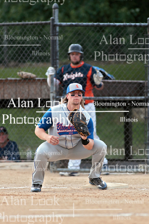 27 June 2014:   Jeremy O'Reilly during a Mens Professional Fastpitch Softball game between the Central Illinois Knights from Villa Grove and the Bloomington Stix from Bloomington, played at O'Neil Park in Bloomington, Illinois