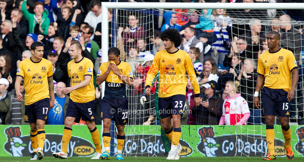 LONDON, ENGLAND - Saturday, March 3, 2012: Everton's Tim Cahill, John Heitinga, Steven Pienaar, Marouane Fellaini and Sylvain Distin looks dejected as Queens Park Rangers score the equalising 1-1 goal during the Premiership match at Loftus Road. (Pic by Vegard Grott/Propaganda)