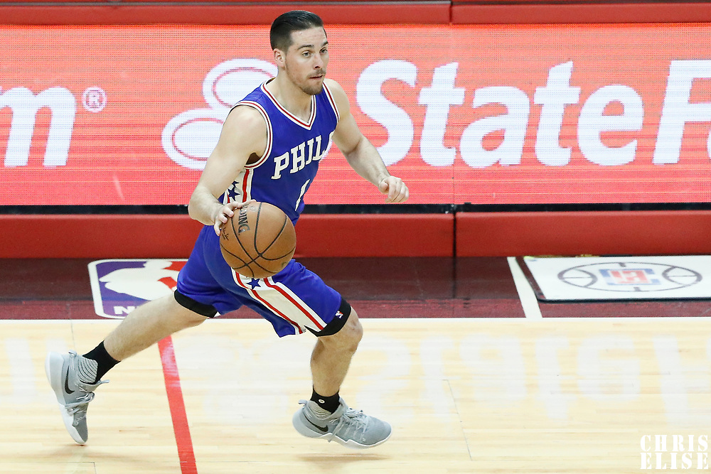 11 March 2017: Philadelphia 76ers guard TJ McConnell (1) brings the ball up court during the LA Clippers 112-100 victory over the Philadelphia Sixers, at the Staples Center, Los Angeles, California, USA.