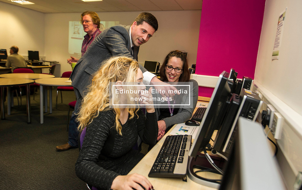 Pictured: Jamie Hepburn, Alison  Johnston and Hannah Wood<br /> <br /> Today, Minister for employability and training, Jamie Hepburn MSP visited Remploy in Edinburgh where he announced new employment services funding. Mr Hepburn gave details on cash which will develop new ways of supporting the Scottish Government's new devolved employment services. <br /> <br /> Ger Harley   EEm 21 December 2016