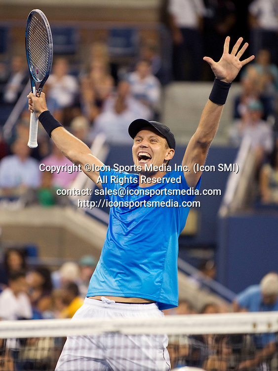 September 05, 2012: Tomas Berdych of Czech Republic, celebrates his quarterfinal victory over world number one, Roger Federer of Switzerland during the US Open tennis tournament at the Billie Jean King National Tennis Center in Flushing, NY.