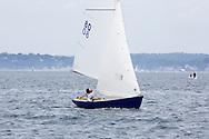 _V0A8101. ©2014 Chip Riegel / www.chipriegel.com. The 2014 Bullseye Class National Regatta, Fishers Island, NY, USA, 07/19/2014. The Bullseye is a Nathaniel Herreshoff designed 15' Marconi rig sailing boat.