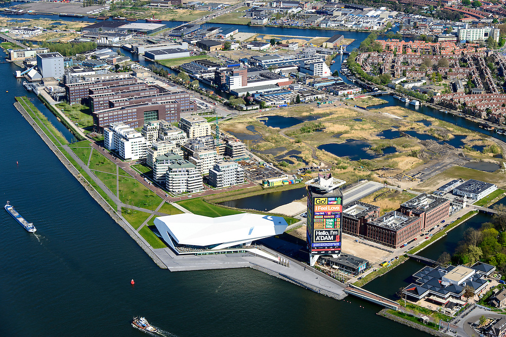 Nederland, Noord-Holland, Amsterdam, 09-04-2014; Amsterdam-Noord, Buiksloterham met filmmuseum Eye en Overhoeks.<br /> Developement of former industrial area and docklands.<br /> luchtfoto (toeslag op standard tarieven);<br /> aerial photo (additional fee required);<br /> copyright foto/photo Siebe Swart