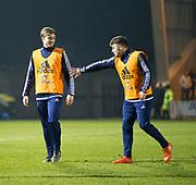 Scotland's Craig Wighton and Cammy Ballantyne share a laugh at half time  - Scotland under 21s v Estonia international challenge match at St Mirren Park, St Mirren. Pic David Young<br />  <br /> - © David Young - www.davidyoungphoto.co.uk - email: davidyoungphoto@gmail.com