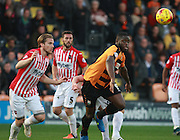 Barnet striker John Akinde races Exeter City defender Christian Ribeiro for the ball during the Sky Bet League 2 match between Barnet and Exeter City at The Hive Stadium, London, England on 31 October 2015. Photo by Bennett Dean.