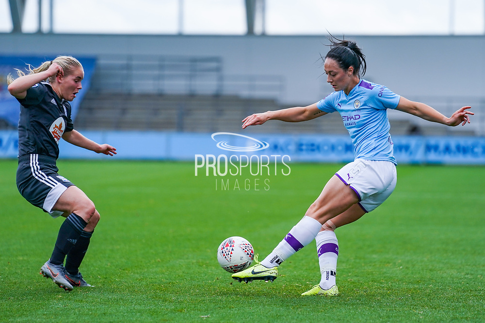 Manchester City Women defender Megan Campbell (5) passes the ball during the FA Women's Super League match between Manchester City Women and BIrmingham City Women at the Sport City Academy Stadium, Manchester, United Kingdom on 12 October 2019.
