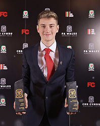 CARDIFF, WALES - Thursday, March 21, 2019: Wales' David Brooks with his Young Player of the Year and Player of the Year awards during the Football Association of Wales Awards 2019 at the Hensol Castle. (Pic by David Rawcliffe/Propaganda)