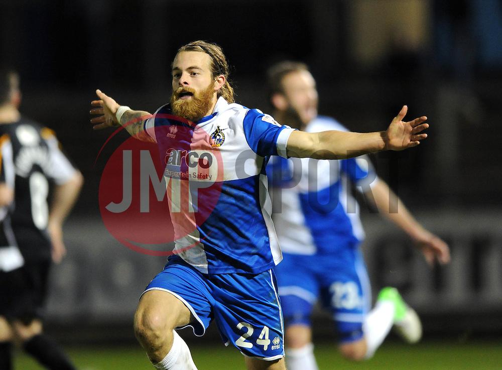 Bristol Rovers' Stuart Sinclair celebrates his goal. - Photo mandatory by-line: Dougie Allward/JMP - Mobile: 07966 386802 - 19/12/2014 - SPORT - football - Bristol - Memorial Stadium - Bristol Rovers v Gateshead  - Vanarama Conference