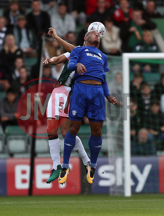 Ashley Richards of Cardiff City challenges for the ariel ball with Ryan Edwards of Plymouth Argyle - Mandatory by-line: Gary Day/JMP - 21/07/2017 - FOOTBALL - Home Park - Plymouth, England - Plymouth Argyle v Cardiff City - Pre-season friendly