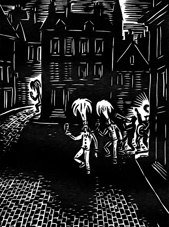 A black / white drawing of people celebrating into the night carnival.