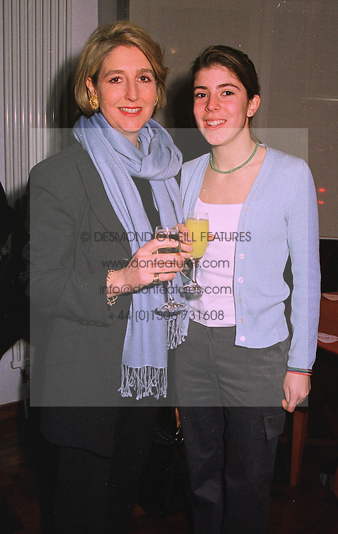 Left to right, COUNTESS ALEXANDER OF TUNIS and her daughter the HON.ROSE ALEXANDER at a party in London on 21st December 1998.<br /> MNB 4