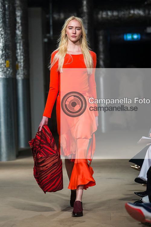 STOCKHOLM, SWEDEN - JANUARY 29: A model walks the runway at the Rodebjer show during the Stockholm Fashion Week Autumn/Winter 2017 at Vastra Stallet on January 29, 2017 in Stockholm, Sweden. (Photo by MICHAEL CAMPANELLA/Getty Images)