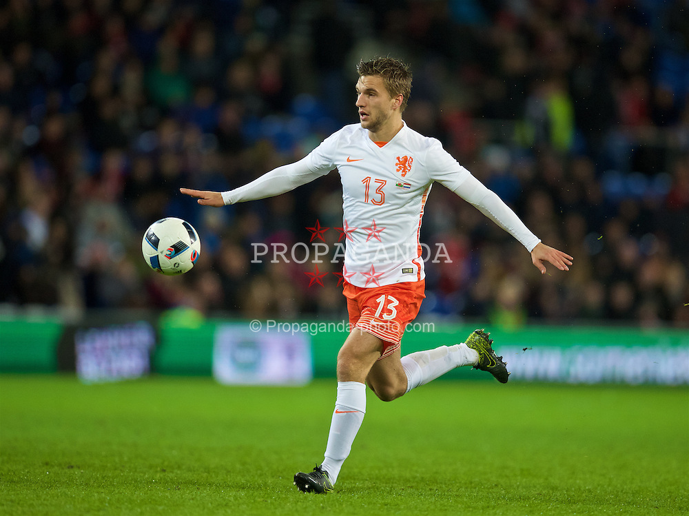 CARDIFF, WALES - Friday, November 13, 2015: The Netherlands' Joël Veltman in action against Wales during the International Friendly match at the Cardiff City Stadium. (Pic by David Rawcliffe/Propaganda)