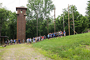 Master's in Athletic Administration students prepare for team building exercises during the outdoor challenge course at The Ridges on Friday, June 26, 2015. © Ohio University / Photo by Rob Hardin