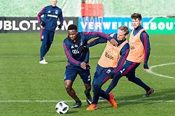 (L-R) Deyovaisio Zeefuik of Ajax, Siem de Jong of Ajax, Klaas Jan Huntelaar of Ajax during the trainings session of Ajax Amsterdam at the Toekomst on January 30, 2018 in Amsterdam, The Netherlands