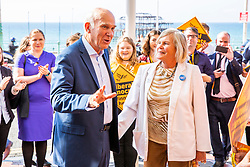 © Licensed to London News Pictures. 15/09/2016. Brighton, UK. MP for Twickenham and Leader of the Liberal Democrats Party, Sir Vince Cable  and his wife Rachel Smith arrive at the Metropole Hotel in Brighton ahead of the Lib Dem's Autumn Party Conference. Photo credit: Hugo Michiels/LNP