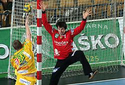 Edo Koksarov vs Goalkeeper of Rhein Neckar Lowen Slawomir Szmal  during the 1st Main round of EHL Champions League match between RK Celje Pivovarna Lasko (SLO) and Rhein Neckar Lowen (GER), on February 14, 2009, in Arena Zlatorog, Celje, Slovenia. Rhein Neckar Lowen won 34:28.  (Photo by Vid Ponikvar / Sportida)