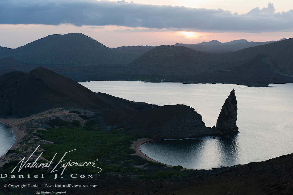 Sunset from the summit on Bartolome Island, an Island in the Galapagos that has a moon-like landscape. Ecuador