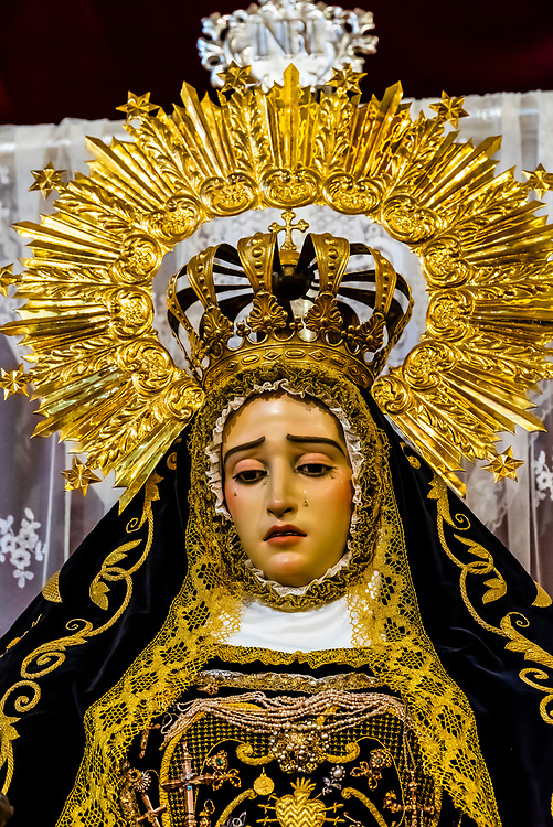 A paso (float) figure of Virgin de las Angustias (Virgin Mary) holding Jesus used in processions during Holy Week (Semana Santa),  The Church and Convent of N. S. Del Carmen, Alhama de Granada,Granada Province, Andalusia, Spain.