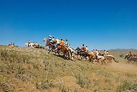 Mongolie. Province de Ovorkhangai. Course de chevaux pour la fete du Naadam de Kharakorin (Karakorum). // Mongolia. Ovorkhangai province. Horses race for the Naadam festival at Kharakorin (Kharakorum).