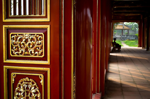 Detail of freshly painted and gilded doors of the Hue Citadel Vietnam Southeast Asia. & Detail of freshly painted and gilded doors of the Hue Citadel ...