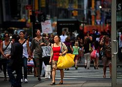 USA NEW YORK 5JUN10 - Pedestrians near Times Square in midtown Manhattan, New York...jre/Photo by Jiri Rezac..© Jiri Rezac 2010