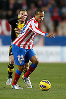 13.01.2013 SPAIN -  La Liga 12/13 Matchday 19th  match played between Atletico de Madrid vs Real Zaragoza (2-0) at Vicente Calderon stadium. The picture show  Joao Miranda de Souza (Brazilian defender of At. Madrid)