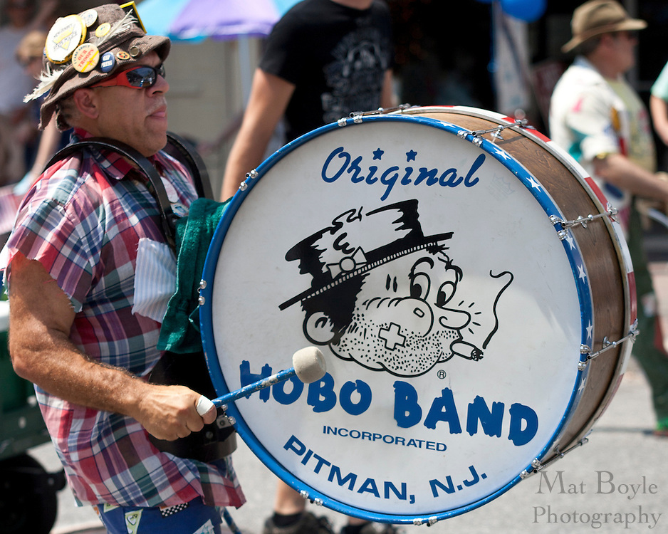A drummer from the Pirman Hobo Band performs during the 2010 Pitman NJ 4th of July Parade.